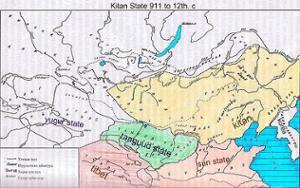 Carte de la Mongolie à l'époque Kitans