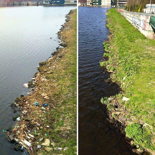 Environnement Mongolie : rivière avant/après