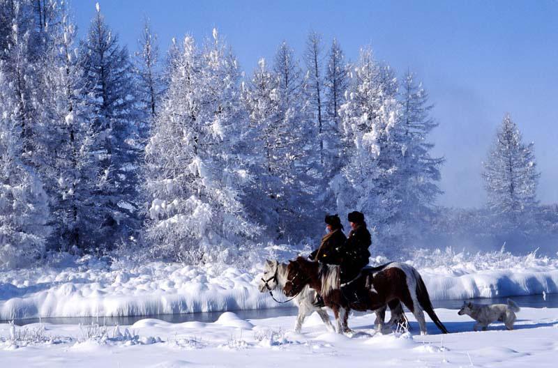 randonnée à cheval hiver Mongolie